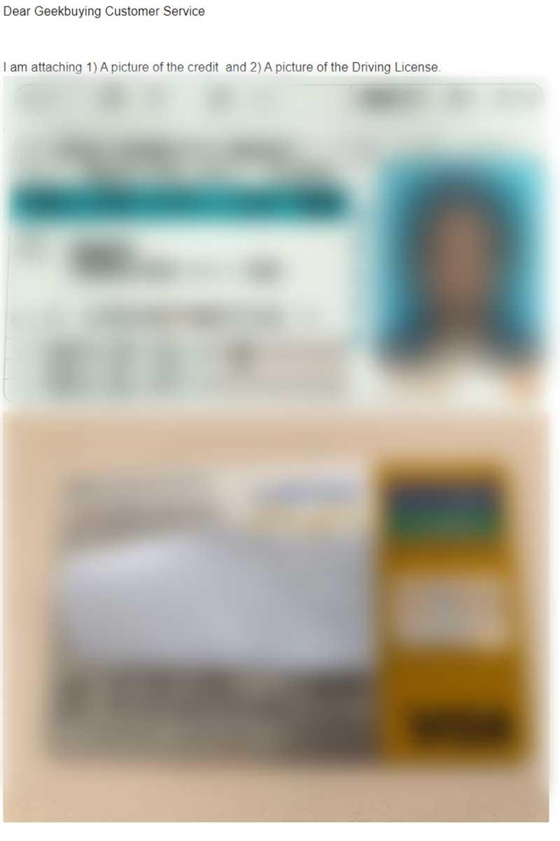 GeekBuyingにクレカと身分証明書のコピーを提出