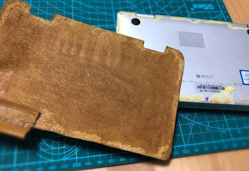 【OneMix2sおすすめ専用ケースDIY・改良(1)】接着剤直貼りの影響は?革を剥がしてペンホルダーを補強!