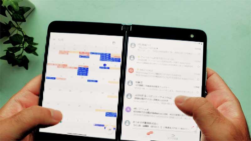 カレンダーとメールの2画面表示
